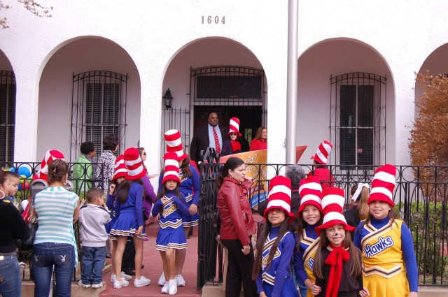 The kids at the end of the Read Across America mini-parade at the Superintendents office