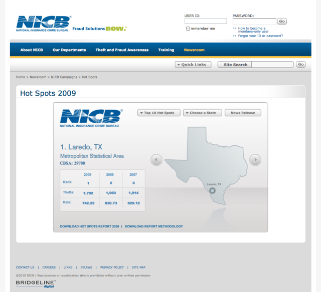 screenshot of the National Insurance Crime Bureau website