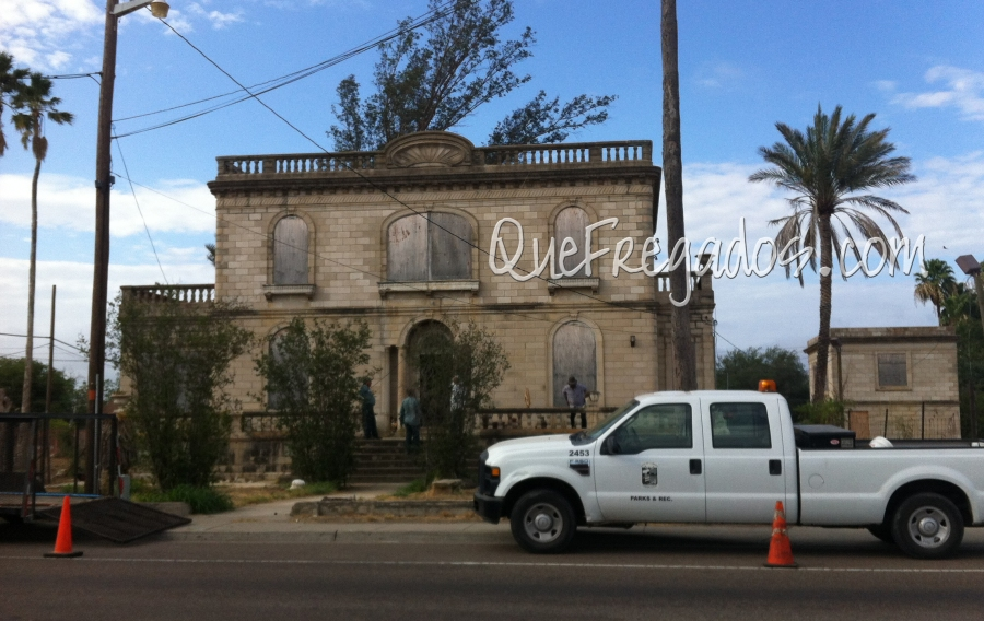 Beckelhymer Home on Chihuahua as the clean-up begins and the city takes responsibility for its repair.