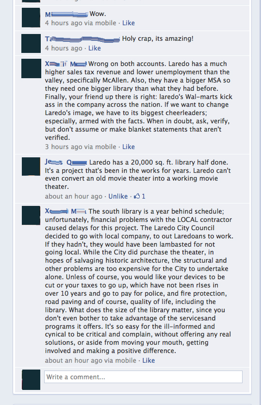 Facebook screenshot in response to a story about the new McAllen library